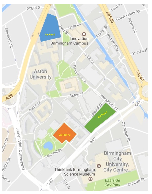 Aston University Map Visitor and Public Parking Aston University Map