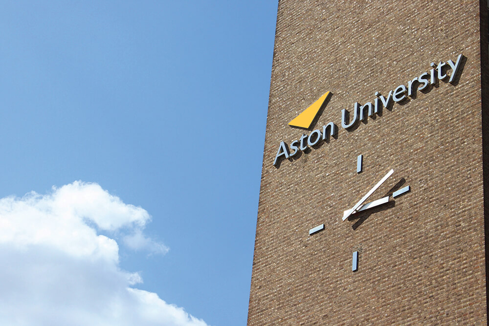 Exterior shot of Aston University Building