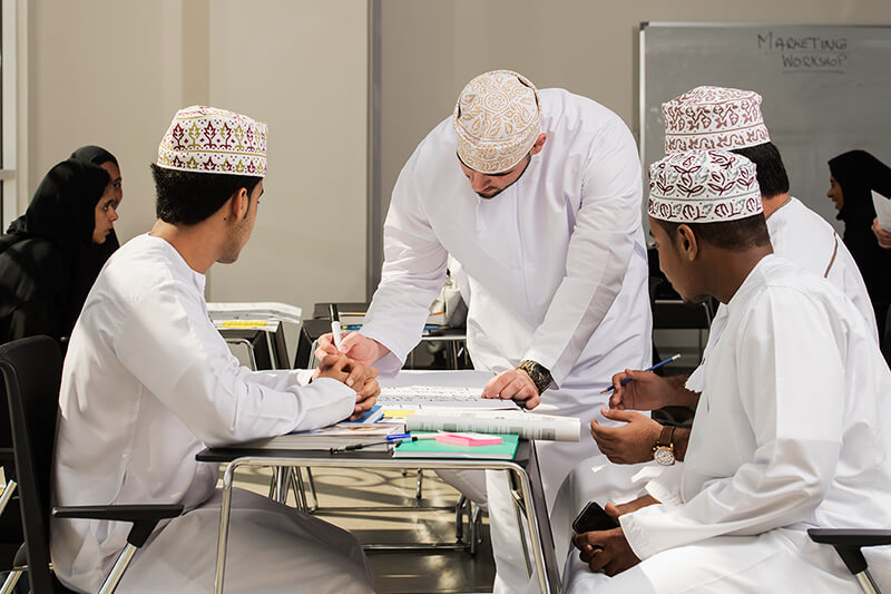 Students in a classroom at Muscat University