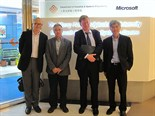 Professor Sweeney pictured with Edmund Fan, Dr Ping Ji and Professor KC Chan (Head of Department of Industrial and Systems Engineering) at the PolyU Microsoft Enterprise Systems Centre during his visit