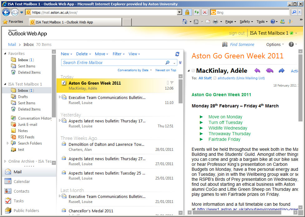 Student Email / Outlook Live - Overview of Outlook Web App Premium