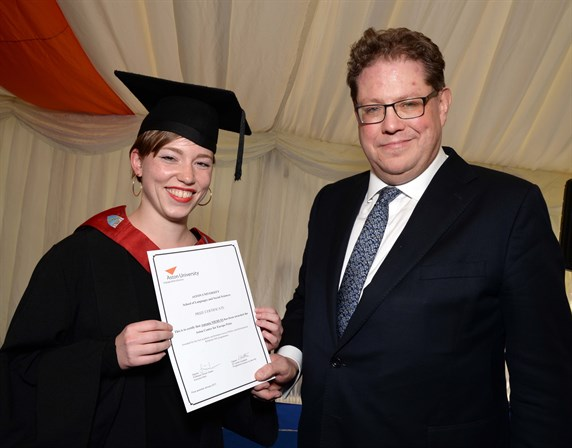 Antonia Niehuss (prizewinner) and Professor Simon Green, Executive Dean, LSS