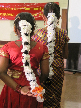 Girls waiting to perform Bharatanatyam dance as part of a celebration event at a Tamil community association (copyright Jones, 2012)