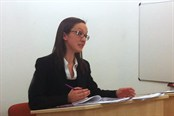 Laura Stockin competing in the moot competition