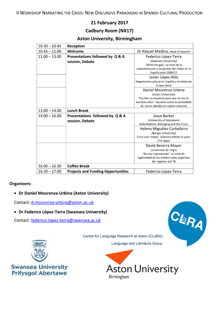 CLaRA Workshop: Narrating the Crisis Programme
