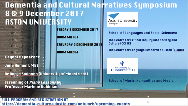Flyer for Dementia and Cultural Narratives Symposium Event